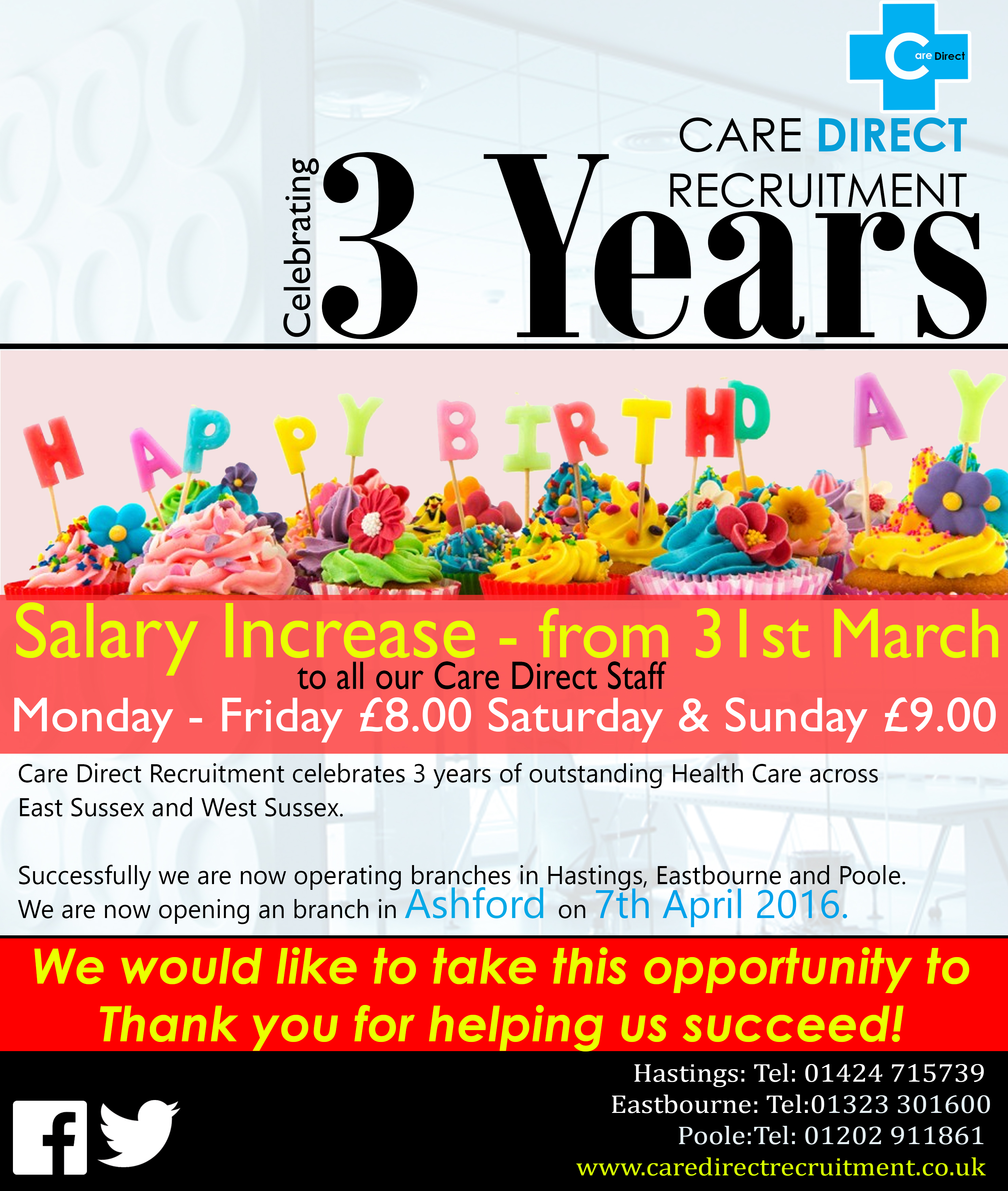 Happy Birthday Care Direct Recruitment – 3 Years – Care Direct